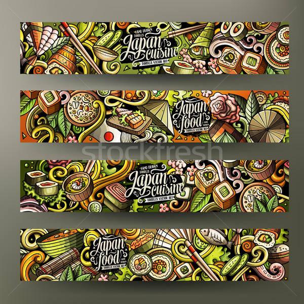 Stock photo: Cartoon doodles japanese food banners