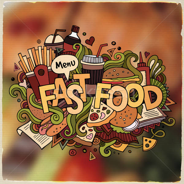 Fastfood hand lettering and doodles elements and symbols emblem. Stock photo © balabolka