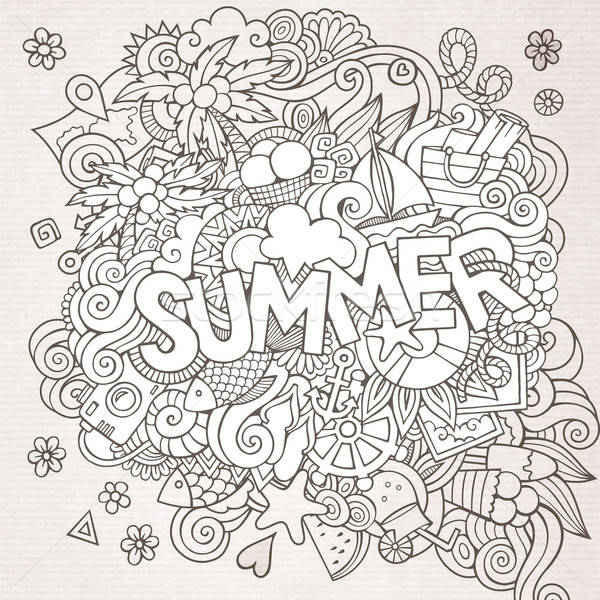 Summer hand lettering and doodles elements. Vector sketchy illus Stock photo © balabolka