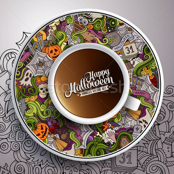 Vector illustration with a Cup of coffee Halloween Stock photo © balabolka