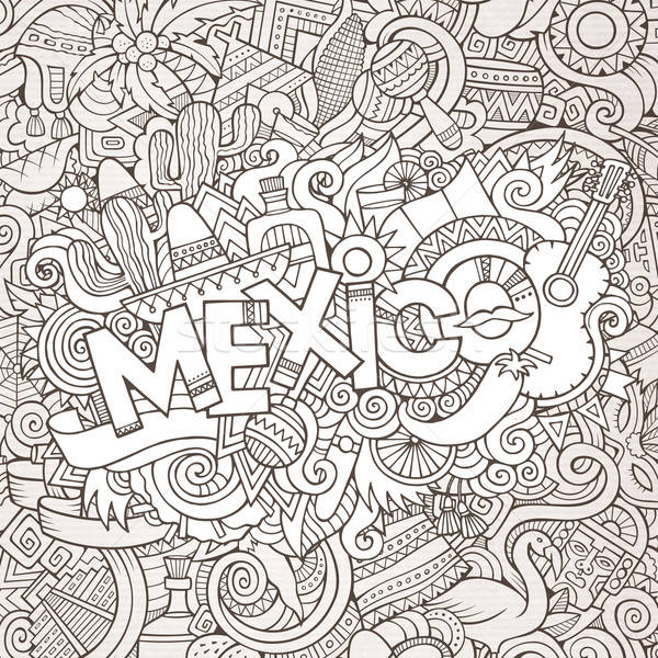 Meksyk strony bazgroły elementy kraju symbolika Zdjęcia stock © balabolka