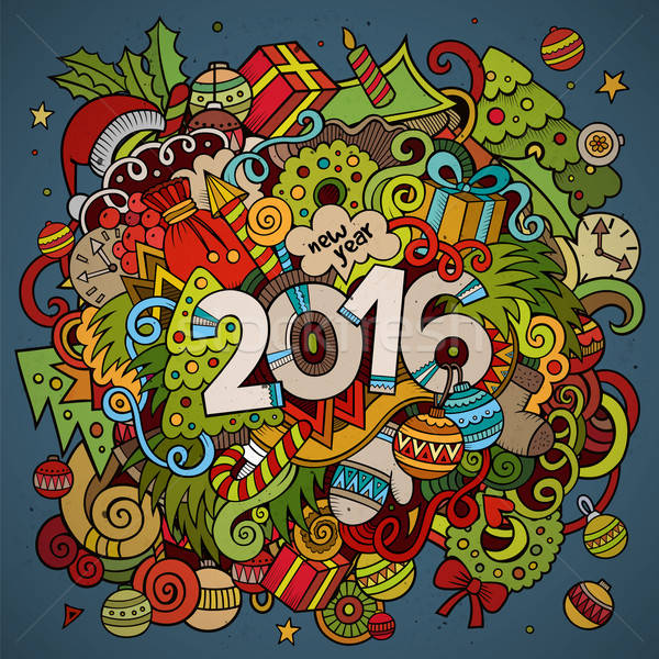 2016 year hand lettering and doodles elements background Stock photo © balabolka