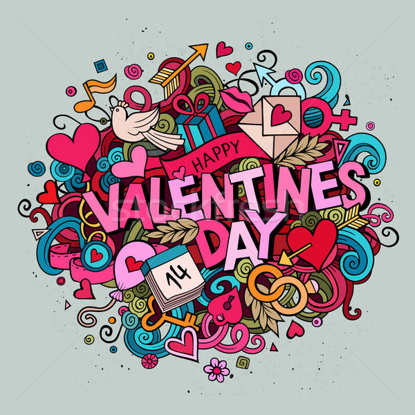 Cartoon vector hand drawn Doodle Happy Valentines Day Stock photo © balabolka