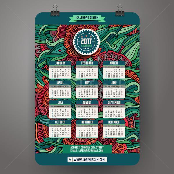 Kritzeleien Karikatur floral Kalender Jahr Design Stock foto © balabolka