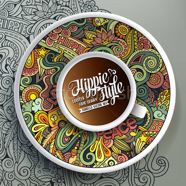 Cup of coffee and hippie doodles Stock photo © balabolka