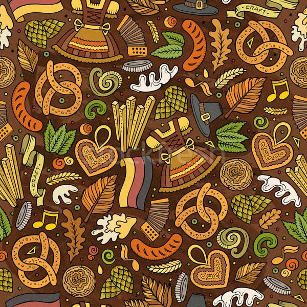 Cartoon cute hand drawn Beer fest seamless pattern Stock photo © balabolka