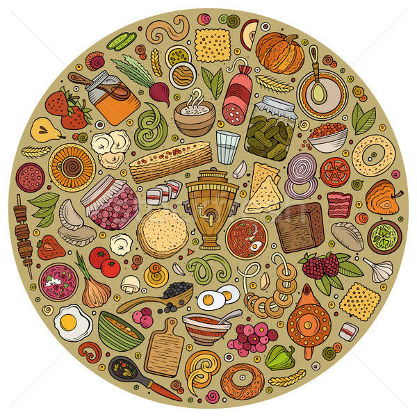 Stock photo: Vector set of Russian food cartoon doodle objects