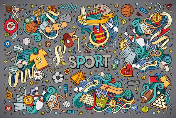Doodle cartoon set of Sport designs Stock photo © balabolka