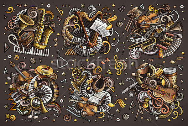 Colorful vector doodles cartoon set of classical musical instruments objects combinations Stock photo © balabolka
