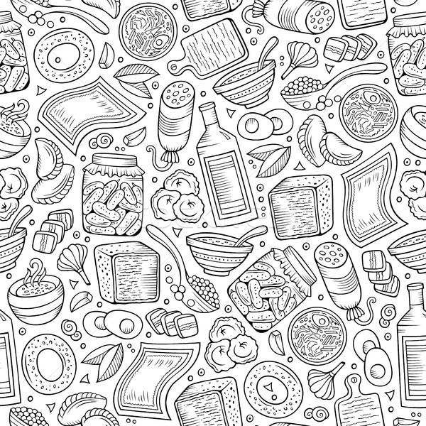 Cartoon hand-drawn Russian food seamless pattern Stock photo © balabolka