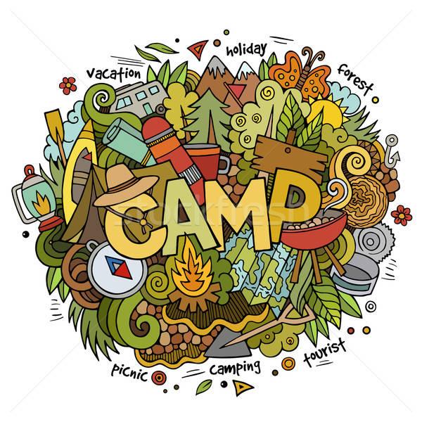 Nyári tábor kéz firkák elemek szimbólumok vektor Stock fotó © balabolka