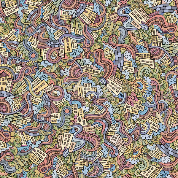doodles hand drawn town. seamless pattern Stock photo © balabolka