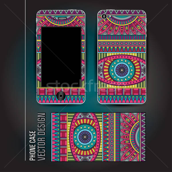Vector cover smartphone abstract ethnic background Stock photo © balabolka