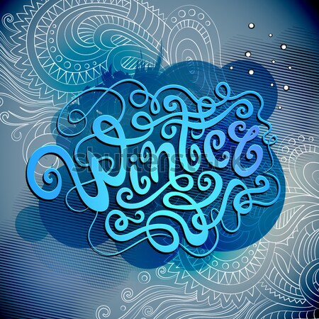 Winter hand lettering with curled background. Stock photo © balabolka