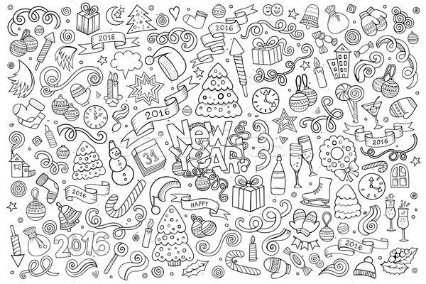 Sketchy vector hand drawn Doodle set of New Year objects Stock photo © balabolka