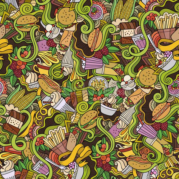 Cartoon scarabocchi fast food colorato dettagliato Foto d'archivio © balabolka