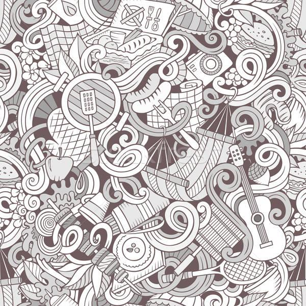 Cartoon пикника линия искусства Сток-фото © balabolka