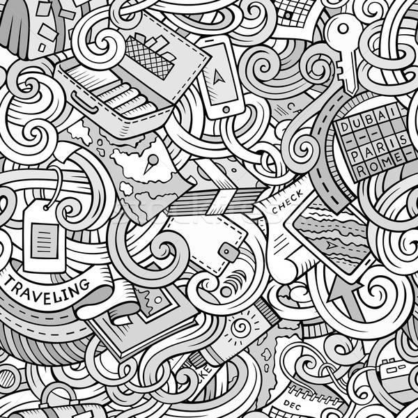 Rajz firkák utazás tervez végtelen minta aranyos Stock fotó © balabolka