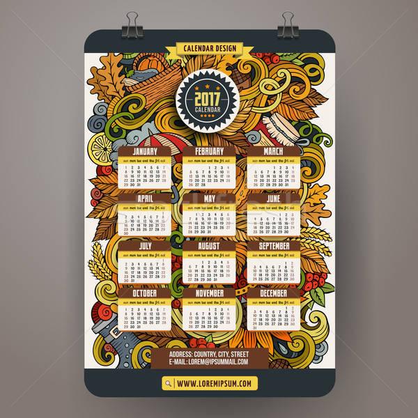 漫畫 秋天 塗鴉 日曆 手工繪製 商業照片 © balabolka