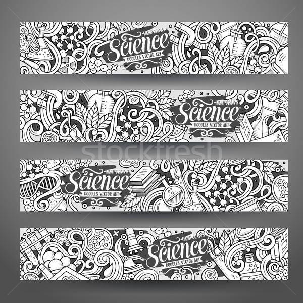 Foto stock: Desenho · animado · vetor · ciência · banners · linha