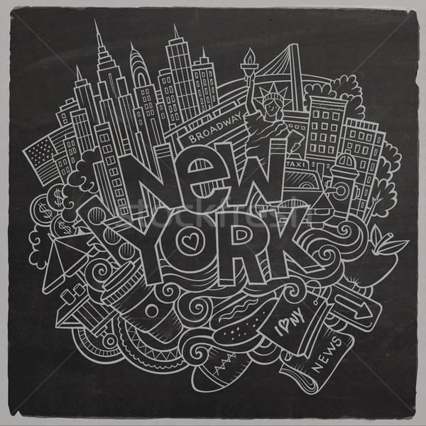 漫画 かわいい 手描き ニューヨーク 碑文 ストックフォト © balabolka