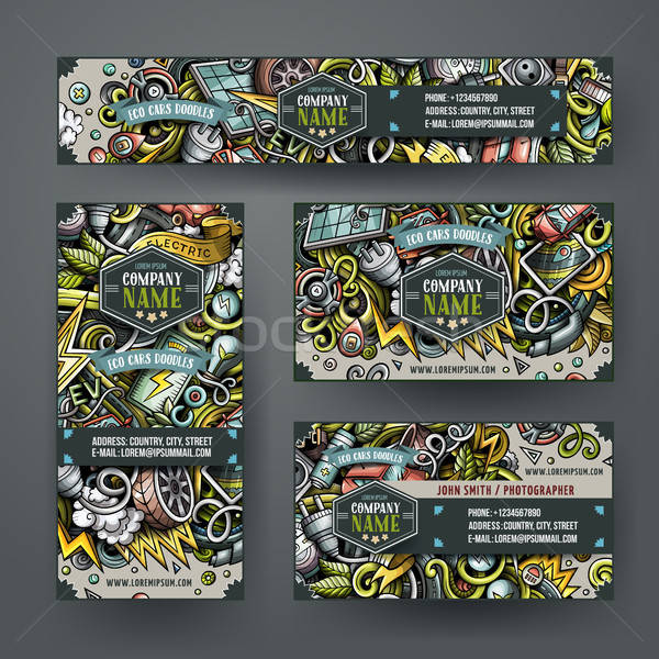 Corporate Identity vector templates set design with doodles hand drawn Electric cars theme Stock photo © balabolka