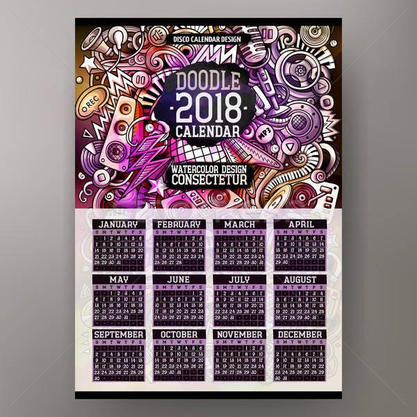 Cartoon colorful hand drawn doodles Disco music 2018 year calendar Stock photo © balabolka