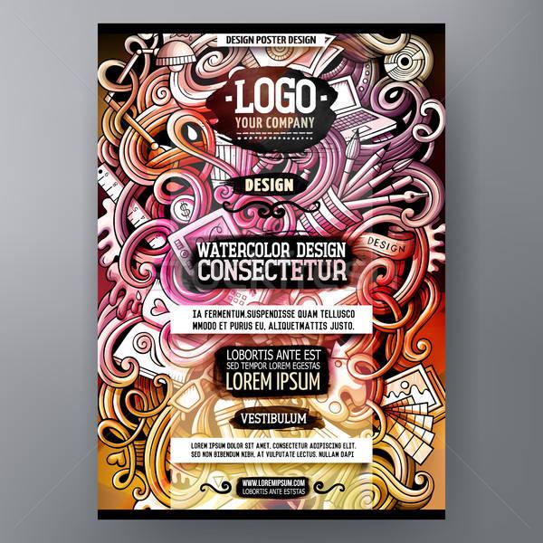 Cartoon watercolor hand drawn doodles Design poster design template Stock photo © balabolka