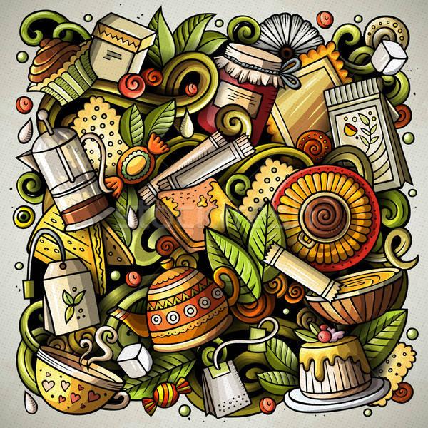 Cartoon vector doodles Tea time illustration Stock photo © balabolka