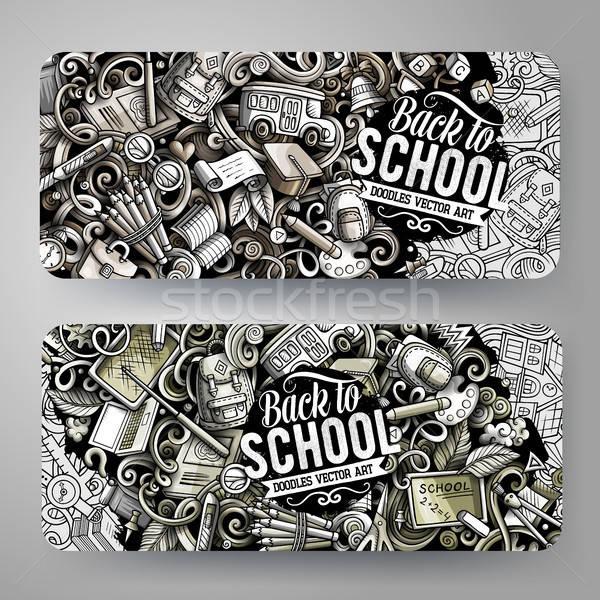 Cartoon graphics vector hand drawn doodles School banners Stock photo © balabolka