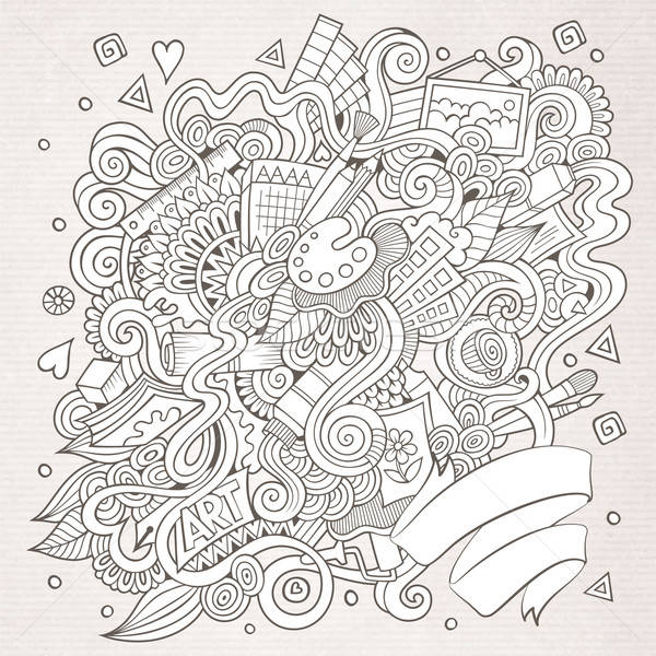 sketchy doodles hand drawn art and craft background Stock photo © balabolka