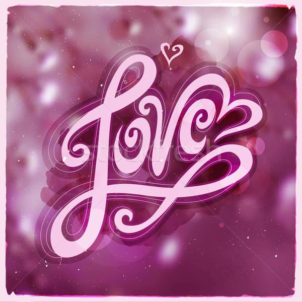 Sevmek el el yapımı kaligrafi vektör bulanık Stok fotoğraf © balabolka
