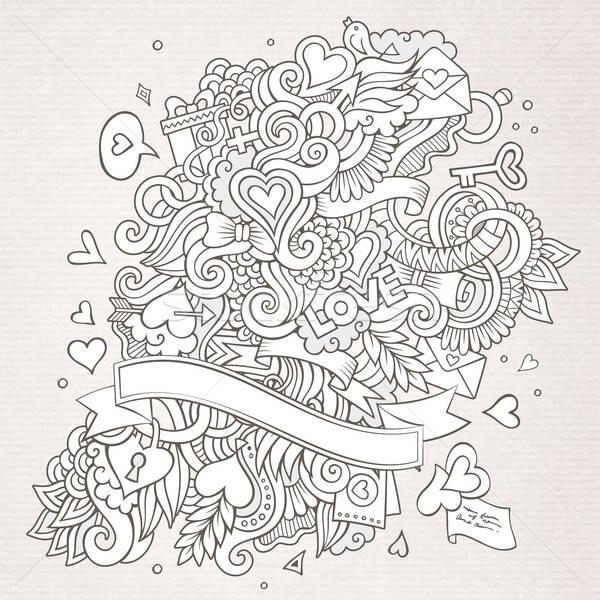 Foto d'archivio: Amore · vettore · sketch · scarabocchi · abstract · decorativo