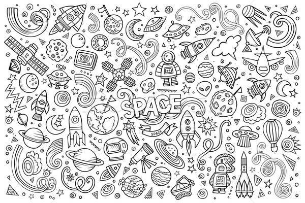 Vázlatos vektor kézzel rajzolt firkák rajz szett Stock fotó © balabolka