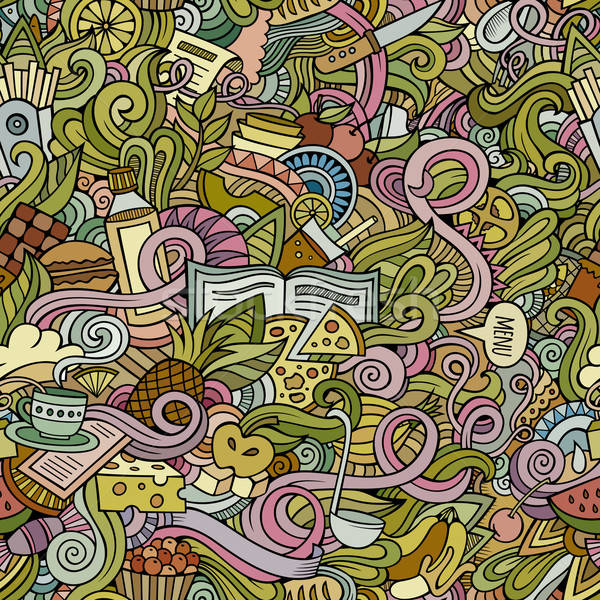 Cartoon vector doodles food seamless pattern Stock photo © balabolka