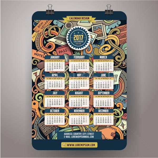 Cartoon scarabocchi anno calendario colorato Foto d'archivio © balabolka