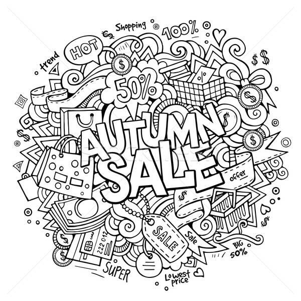 Cartoon cute doodles hand drawn shopping illustration Stock photo © balabolka