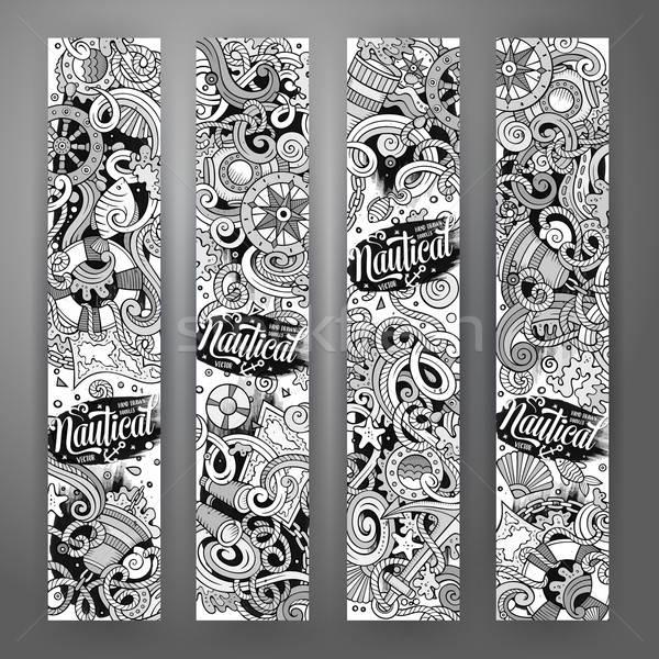 Cartoon garabatos náutico banners línea arte Foto stock © balabolka