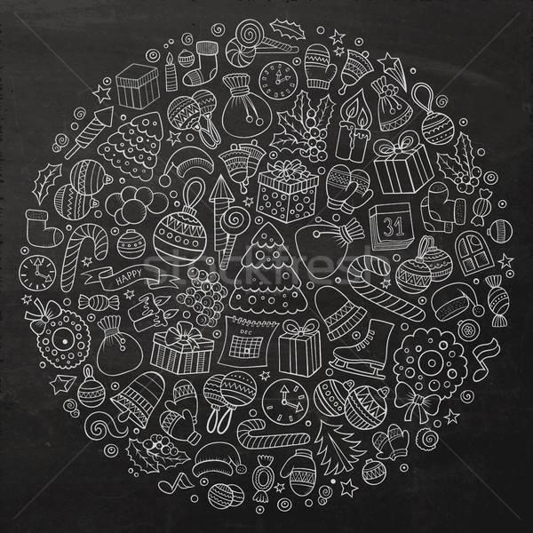 Conjunto ano novo desenho animado rabisco objetos linha Foto stock © balabolka