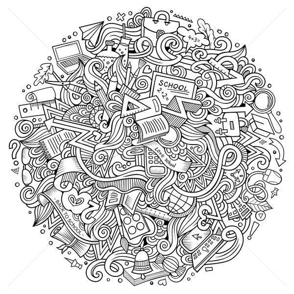Cartoon school illustratie cute Stockfoto © balabolka