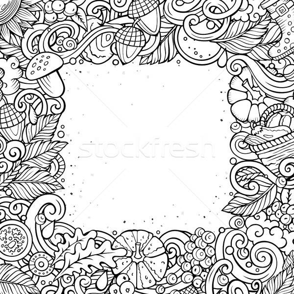 Cartoon cute doodles hand drawn Autumn frame design. All items are separate. Stock photo © balabolka