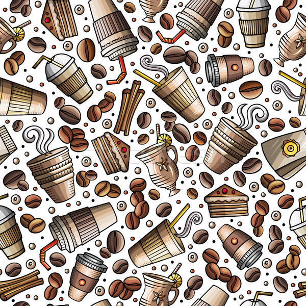 Cartoon coffee shop seamless pattern Stock photo © balabolka