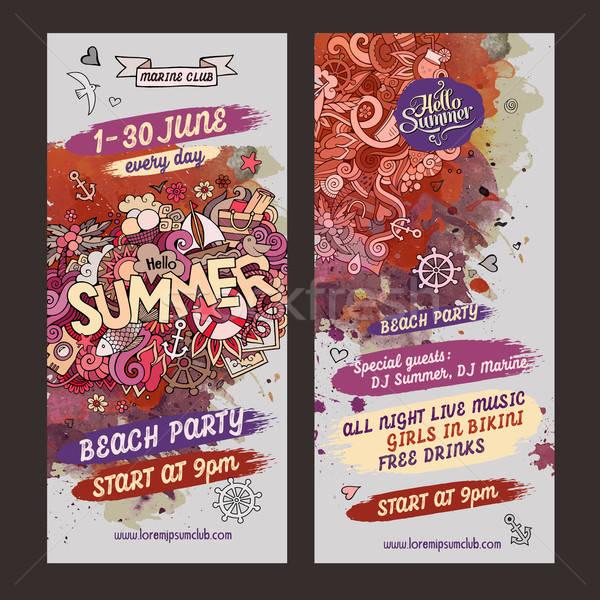 Vector summer watercolor paint party flyer design Stock photo © balabolka