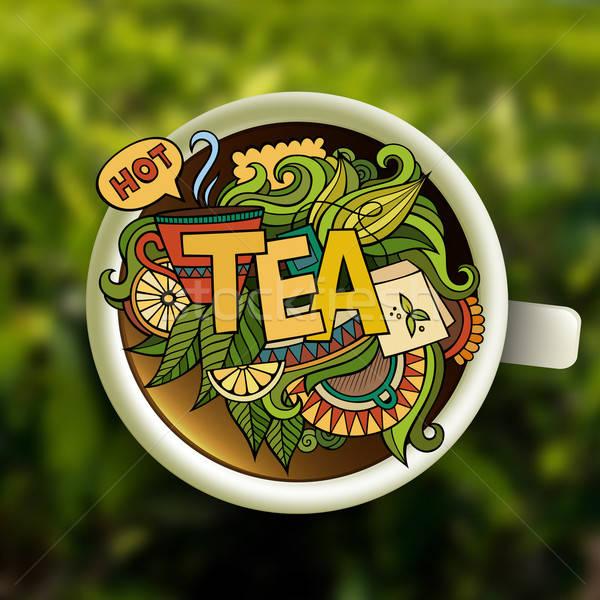 Chá mão elementos papel cozinha Foto stock © balabolka