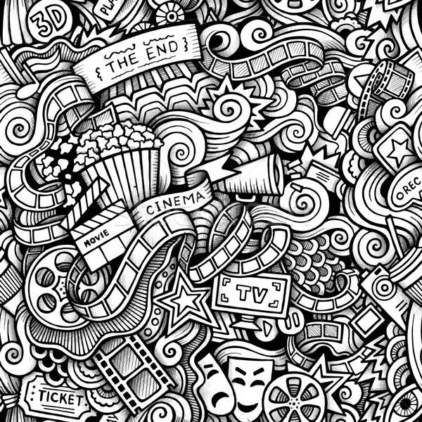 Cartoon hand-drawn doodles on the subject of Cinema style theme  Stock photo © balabolka