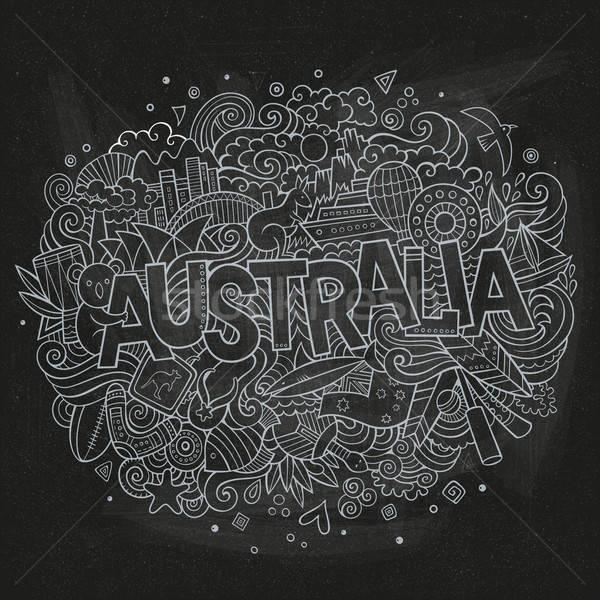 Ausztrália vidék kéz firkák elemek szimbólumok Stock fotó © balabolka