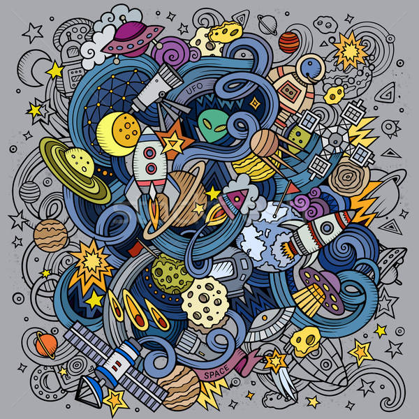 Stock photo: Cartoon hand-drawn doodles Space illustration