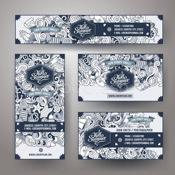 Corporate Identity vector templates set doodles marine theme Stock photo © balabolka