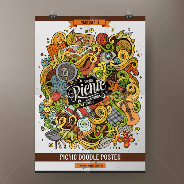 Cartoon bazgroły piknik plakat kolorowy Zdjęcia stock © balabolka