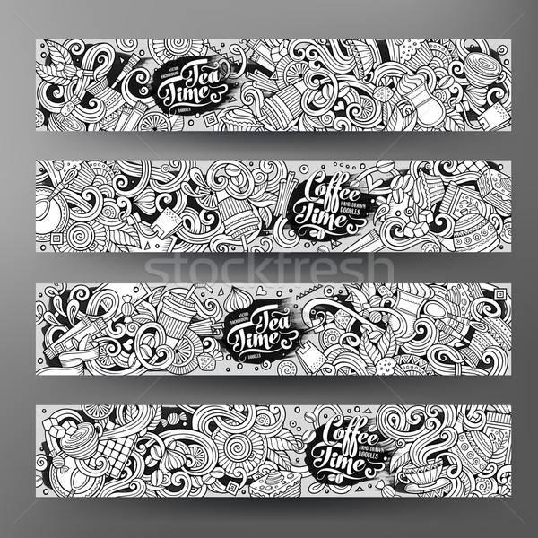 Cartoon line art doodles cafe banners Stock photo © balabolka